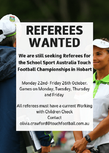 SSA Touch Football Referees Needed